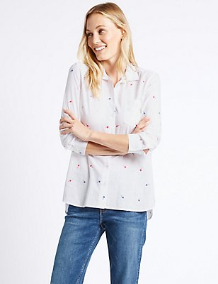 Pure Cotton Palm Embroidered Shirt, IVORY MIX, catlanding