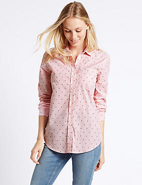 Pure Cotton Embroidered Spot Striped Shirt, PINK MIX, catlanding
