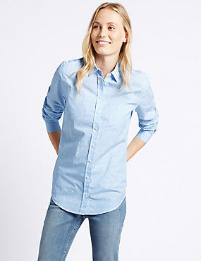 Pure Cotton Embroidered Spot Striped Shirt, BLUE MIX, catlanding
