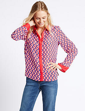 Geometric Print Long Sleeve Shirt, RED MIX, catlanding