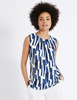 Brush Print Round Neck Vest Top, BLUE MIX, catlanding