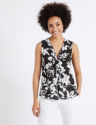 Floral Print Frill Detail Shell Top, BLACK MIX, catlanding