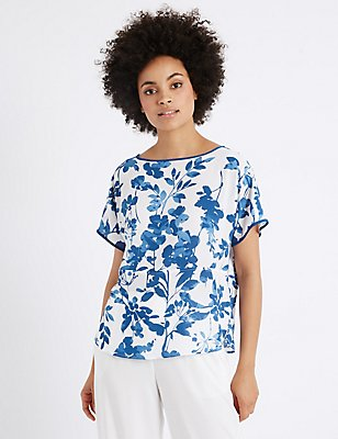 Floral Print Short Sleeve Shell Top, BLUE MIX, catlanding