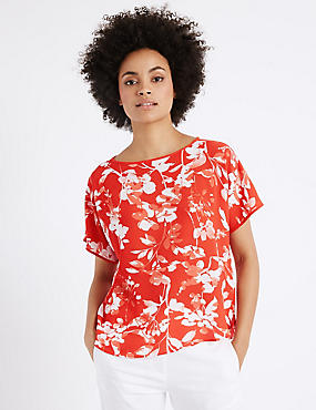Floral Print Short Sleeve Shell Top, ORANGE MIX, catlanding