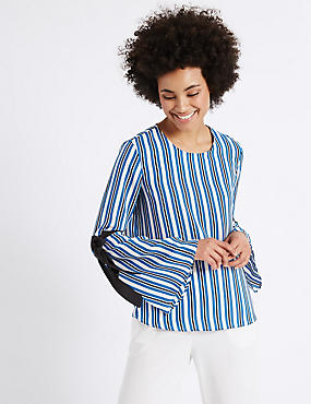 Striped Round Neck Tie Sleeve Blouse, NAVY MIX, catlanding
