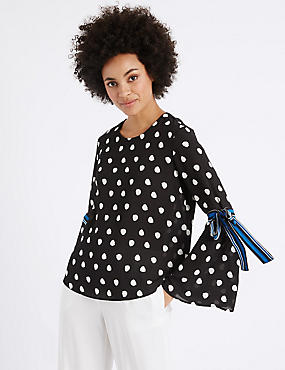 Spotted Round Neck Tie Sleeve Blouse, WHITE/BLACK, catlanding