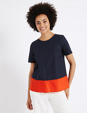 Pure Cotton Colour Block Shell Top, ORANGE MIX, catlanding