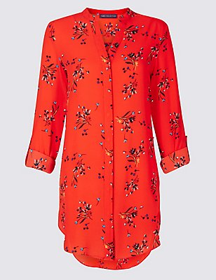 Floral Print Longline Long Sleeve Tunic, ORANGE MIX, catlanding