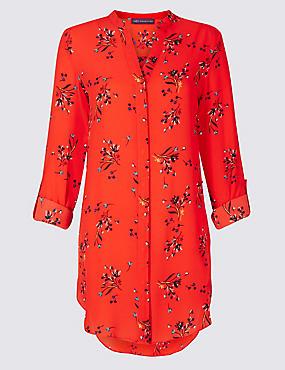 Floral Print Longline Long Sleeve Tunic, ORANGE MIX, catlanding