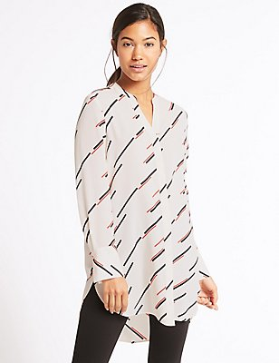 Striped Longline Long Sleeve Tunic, IVORY MIX, catlanding