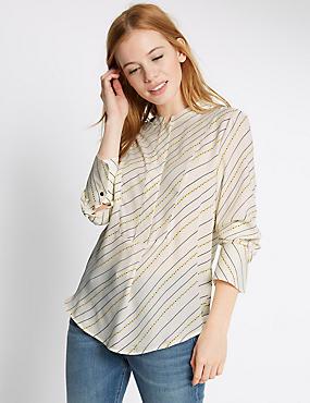 PETITE Printed Long Sleeve Shirt, IVORY MIX, catlanding