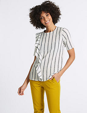Striped Ruffle Front Short Sleeve Shell Top, IVORY MIX, catlanding