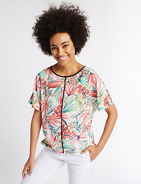 Floral Print Short Sleeve Shell Top, IVORY MIX, catlanding