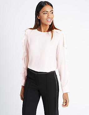 Long Sleeve Ruffle Blouse, BLUSH, catlanding