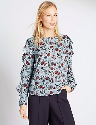 Ruffle Sleeve Floral Print Blouse, BLUE MIX, catlanding