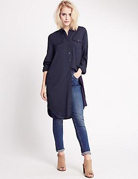Long Sleeve Longline Blouse, NAVY, catlanding