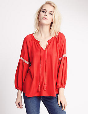 Crepe Tassel Notch Neck Blouse, RED, catlanding