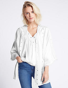 Pure Cotton Embroidered Kimono Top, WHITE, catlanding