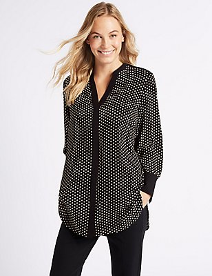 Spotted Notch Neck Long Sleeve Tunic, BLACK MIX, catlanding