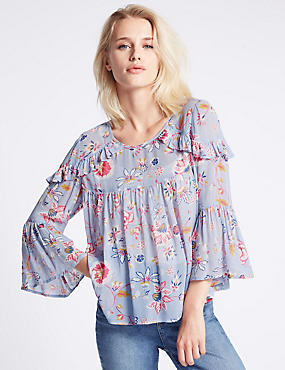 Floral Print Ruffle 3/4 Sleeve Blouse, PINK MIX, catlanding