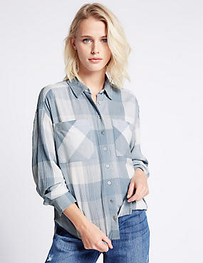 Checked Long Sleeve Shirt, BLUE MIX, catlanding