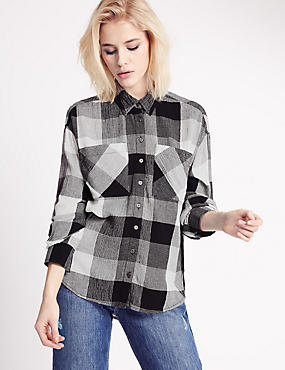 Checked Long Sleeve Shirt, BLACK MIX, catlanding