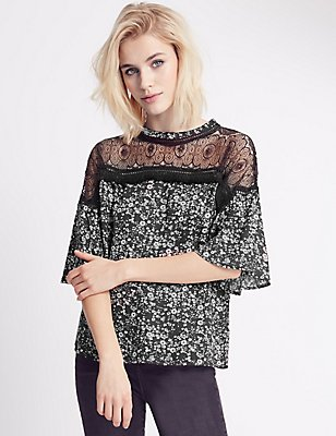 Pure Modal Printed Half Sleeve Shell Top, BLACK MIX, catlanding