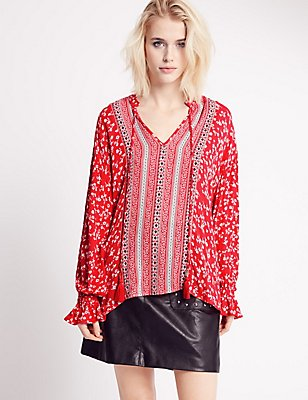 Floral Print Tassel Blouse, RED MIX, catlanding