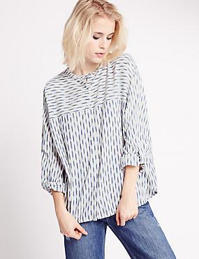 Langarmhemd aus reiner Baumwolle mit Streifenmuster, ELFENBEIN MELANGE, catlanding