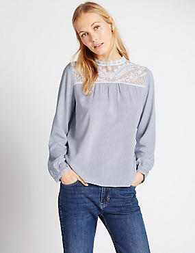 Long Sleeve Lace Yoke Stripe Blouse, BLUE MIX, catlanding