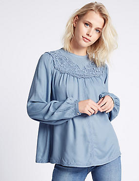 Embroidered Lace Front Long Sleeve Blouse, LIGHT CHAMBRAY, catlanding