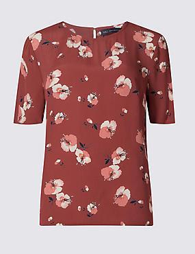 Floral Short Sleeve Top, RUST MIX, catlanding