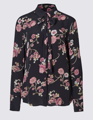 Блузка свободного кроя с цветами и бантом M&S Collection T436254