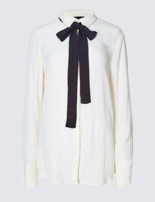 Свободная блузка с контрастным бантом M&S Collection T436255