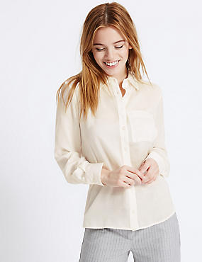 PETITE Long Sleeve Shirt, IVORY, catlanding