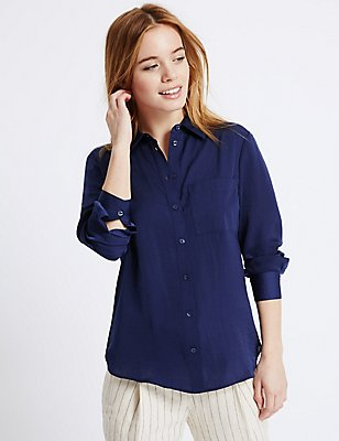PETITE Long Sleeve Shirt, RICH BLUE, catlanding