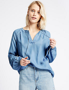 Notch Neck Long Sleeve Blouse, DENIM, catlanding