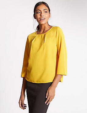 Round Neck 3/4 Sleeve Shell Top, CHARTREUSE, catlanding
