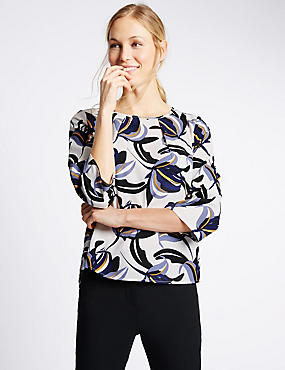 Floral Print 3/4 Sleeve Shell Top, IVORY MIX, catlanding