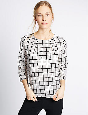 Checked 3/4 Sleeve Shell Top, NAVY MIX, catlanding