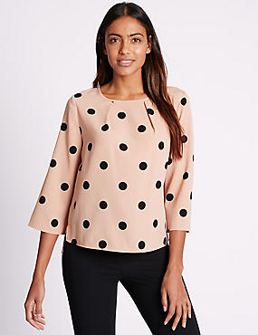 Spotted 3/4 Sleeve Shell Top, PINK MIX, catlanding