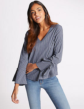 Striped V-Neck Tie Sleeve Shell Top, BLUE MIX, catlanding
