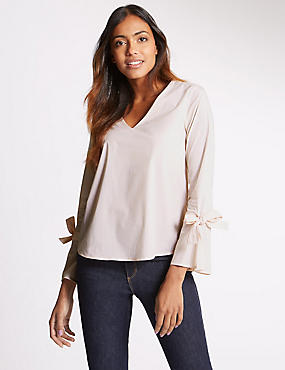 Striped V-Neck Tie Sleeve Shell Top, PINK MIX, catlanding