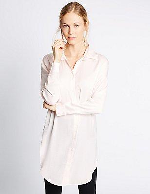 Longline Long Sleeve Shirt, BLUSH, catlanding