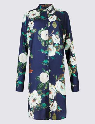 """Удлинённая рубашка с красочным принтом """"английская роза"""" M&S Collection T436269"""