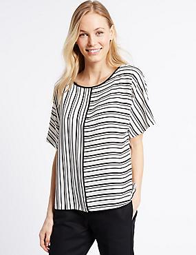 Striped Short Sleeve Shell Top, BLACK MIX, catlanding