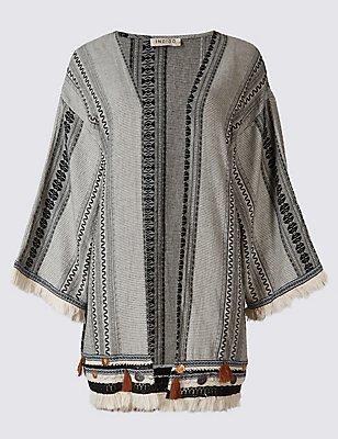 Pure Cotton Jacquard Print Kimono Cardigan, BLACK MIX, catlanding