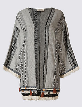 Pure Cotton Jacquard Print Kimono Cardigan, BLACK MIX, catlanding