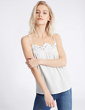 Pure Cotton Lace Crinkle Camisole Top, IVORY, catlanding