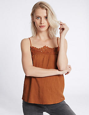Pure Cotton Lace Crinkle Camisole Top, BURNT SIENNA, catlanding